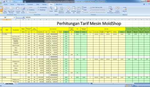 Perhitungan tarif mesin per jam Moldshop