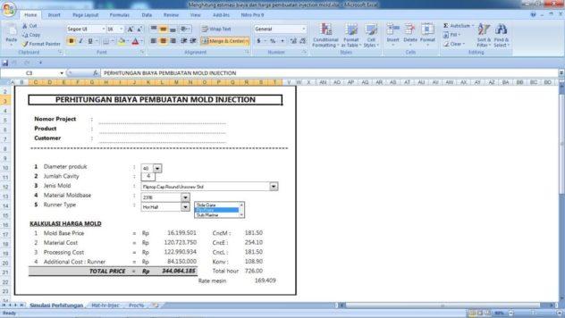 Cara menghitung estimasi biaya dan harga injection mold