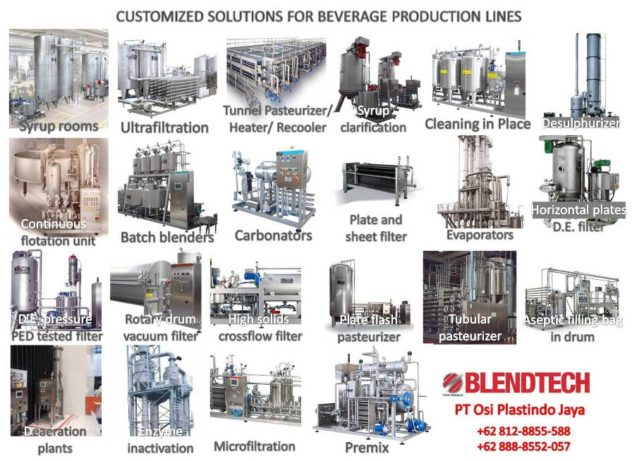 Complete beverage processing equipment for industry